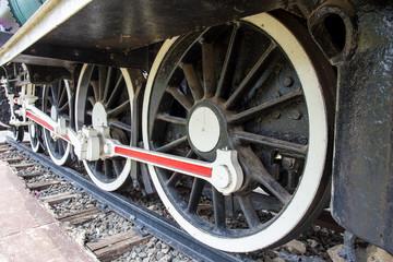 wheel of locomotive on railway, vintage, train