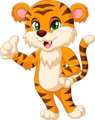 Cute tiger cartoon giving thumbs up