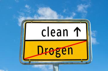 Ortstafel clean/Drogen
