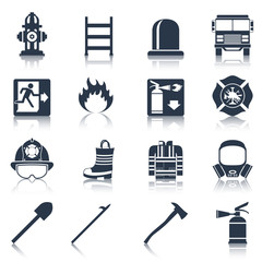 Firefighter Icons Black