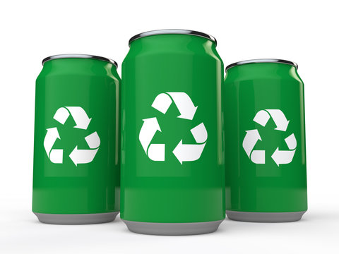 3d cold drink cans with recycle symbol