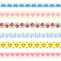 Set of vector Patterns for Embroidery Stitch