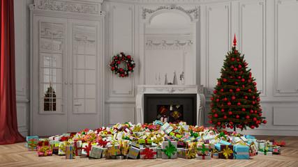 Viele Geschenke fallen aus Kamin an Weihnachten