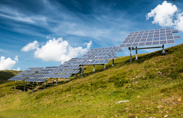 solar power panels with blue sky for clean energy from the sun