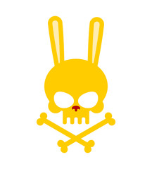 Cute rabbit skull with bones. Good, Honey Head skeleton Hare. lo