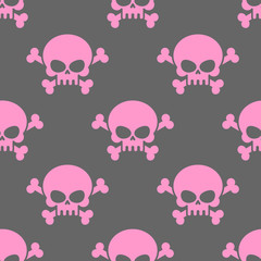 Pink skull on a grey background seamless pattern. Head of  skele