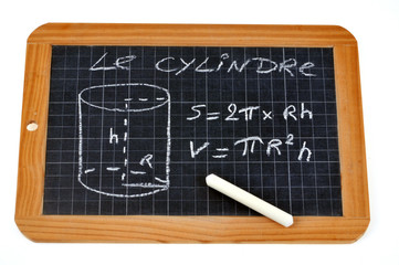 Ardoise avec formules du cylindre
