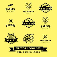 Retro Hipster Vintage Bakery Restaurant Vector Logo Set