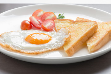 fresh fried egg and bread.