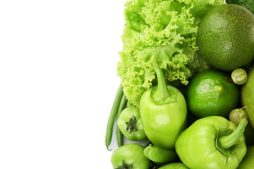 Fresh green food isolated on white