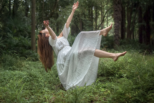 Floating Girl in the Forest