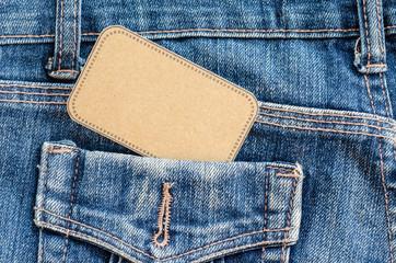 Tag price in pocket blue jean.