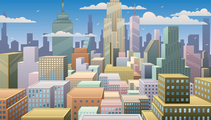 Cityscape Day / Cityscape at noon. Basic (linear) gradients used. No transparency.