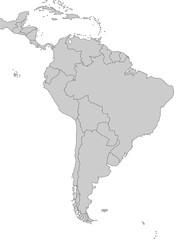Südamerika - Karte in Grau