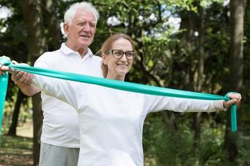 Mature sporty marriage training pilates