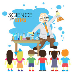 Science for kids. Cartoon scientist shows to kids chemistry
