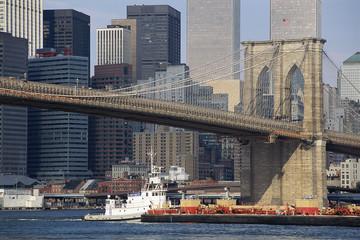Brooklyn Bridge with heavy boat traffic