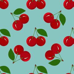 Seamless Pattern with Juicy Ripe Cherry Fruit