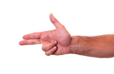 Hand making gun gesture