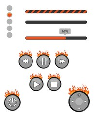 Illustration with a set of elements of interfaces decorated with fire.