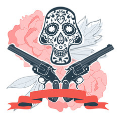 Hand drawn skull with guns and flowers in vintage style