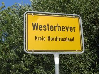 Ortsschild Westerhever