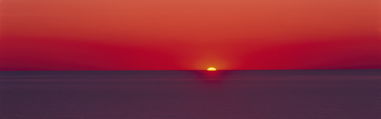 Red sunrise of Lake Michigan