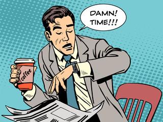 Coffee break late businessman cafe