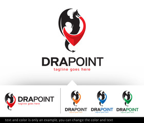 Dragon Point Logo Template Design Vector