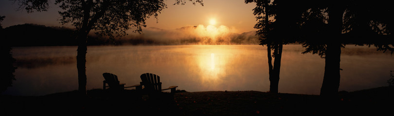 Sun rising over Lake Placid, New York