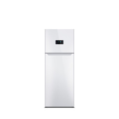 Shiny white refrigerator isolated on white. Glossy finish. Fridge freezer. The external LED display, with blue glow. Top freezer.