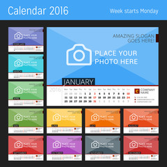 Desk Calendar 2016 Year. Vector Design Print Template with Place for Photo. Set of 12 Months. Week Starts Monday