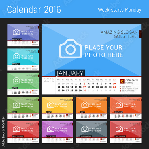 desk calendar 2016 year vector design print template with place for