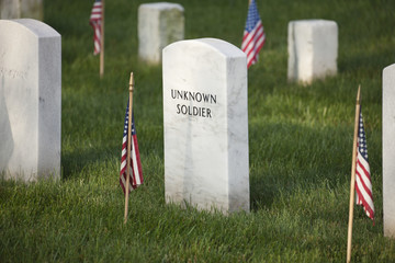 Gravestone of an unknown soldier in Arlington National Cemetery