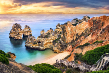 Wall Mural - Sunrise at Camilo Beach, Lagos, Portugal