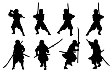 Ninja and samurai-naginata silhouette set