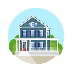 Beautiful residential house. Vector flat illustration.
