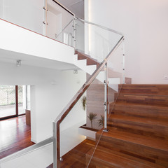 Wooden stairs with elegant balustrade