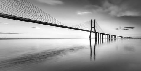 An black and white vision of the bridge Vasco da Gama
