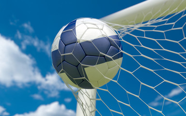 Flag of Finland and soccer ball in goal net