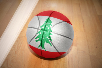 basketball ball with the national flag of lebanon
