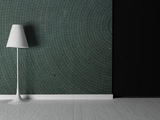 floor lamp near nice wallpaper
