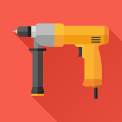 Hand electric drill flat icon