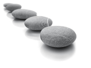 line of stones isolated on white background