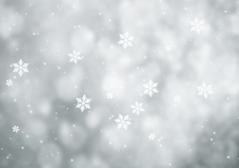 Simple snowfall abstract with silver snowflakes on silver colored and blurred background. Illustration.