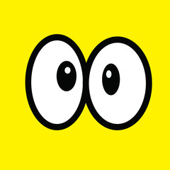Black And White Cute Cartoon Eyes. Vector Illustration