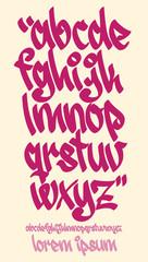 Graffiti alphabet - Handwritten - Vector lowercase font