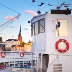 Traditional ferry steamer in Gamla stan, Stockholm, Sweden.