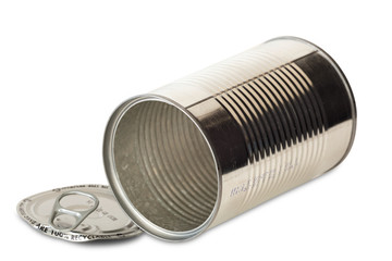 Empty opened tin can