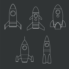Isolated rocket outline collection set with black background
